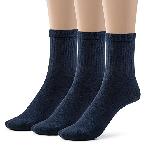 Boys Cotton Ribbed Crew Dress Socks (Small (7-8), Dark Navy)