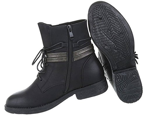 Damen Schuhe Stiefeletten Used Optik Schnürer Boots Schwarz