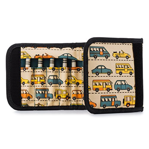 Urban Infant Budding Artist Crayon Set / Travel Wallet - Traffic