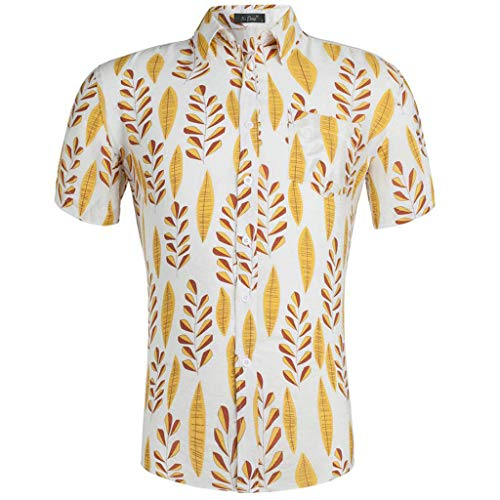 - YOcheerful Men's Summer Tops Casual 3D Color Print Shirts Short-Sleeved Shirts Button Up Hwwaiian Blouses Yellow