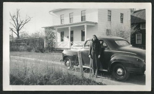 Lady & 1941 Plymouth Coupe in driveway snapshot - Plymouth Women