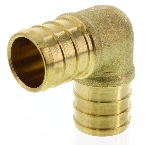 Everflow PXLN0100-NL 1 Inch Pex Barb Elbow, Lead Free DZR Brass Construction, (Barb Elbow)
