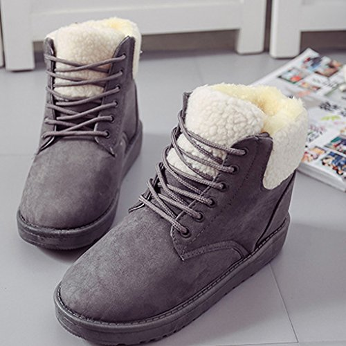 Autumn Round Winter Cotton Fashion Lace Up Snow Boots Grey Boots Boots Warm Toe Martin Shoes Women Minetom Padded qgvIXg
