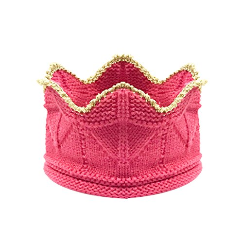 Bowbear Little Prince & Princess Crochet Knitted Birthday Party Crown Beanie Cap, Bubblegum Pink Princess Pink Bubble Gum
