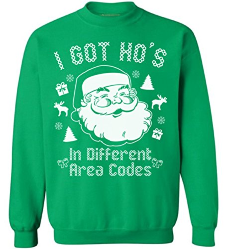 Awkwardstyles I Got Hos in Different Area Codes Sweater Ugly Christmas Crewneck M Green for $<!--$18.95-->