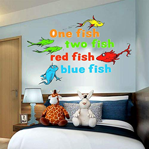 One Fish Two Fish Dr. Seuss The Lorax, truffula tree, 3D Window View Decal Graphic WALL STICKER Art Mural 18