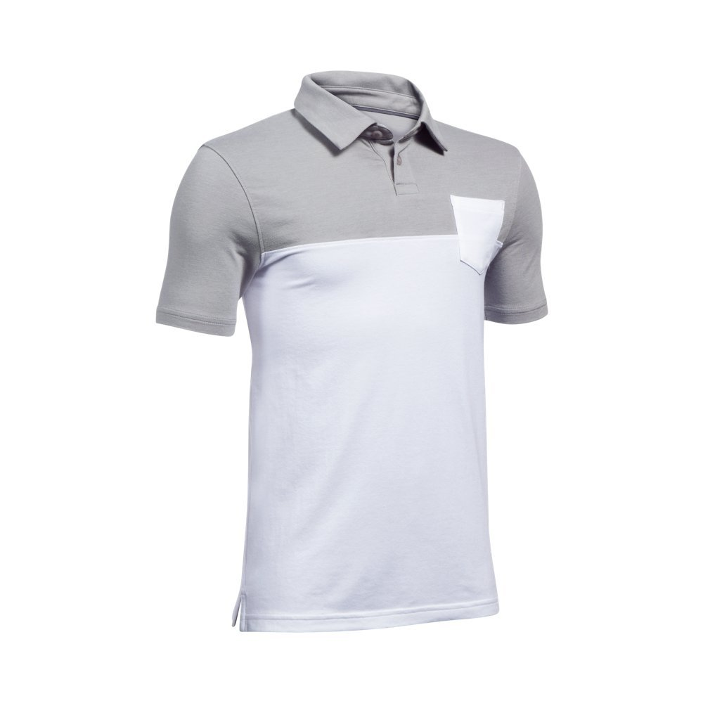 Under Armour Boys' Charged Cotton Blocked Polo, White (100)/Graphite, Youth X-Small by Under Armour