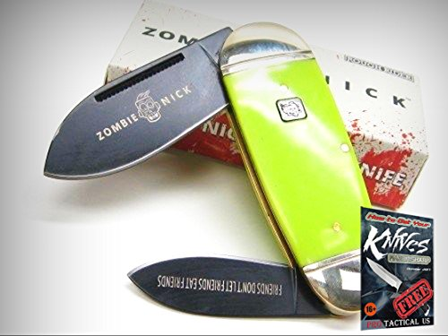 ROUGH RIDER Green ZOMBIE NICK TOENAIL 2 Blade Folding Pocket Knife! 0011455 + free eBook by ProTactical'US