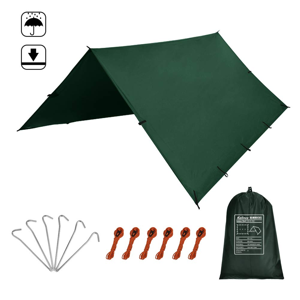 Kalinco PU Waterproof Camping Tarp Tent RAIN Fly Picnic Mat Survival Shelter Sunshade Lightweight Mutifunctional Rain Cover Gear Accessories by Kalinco