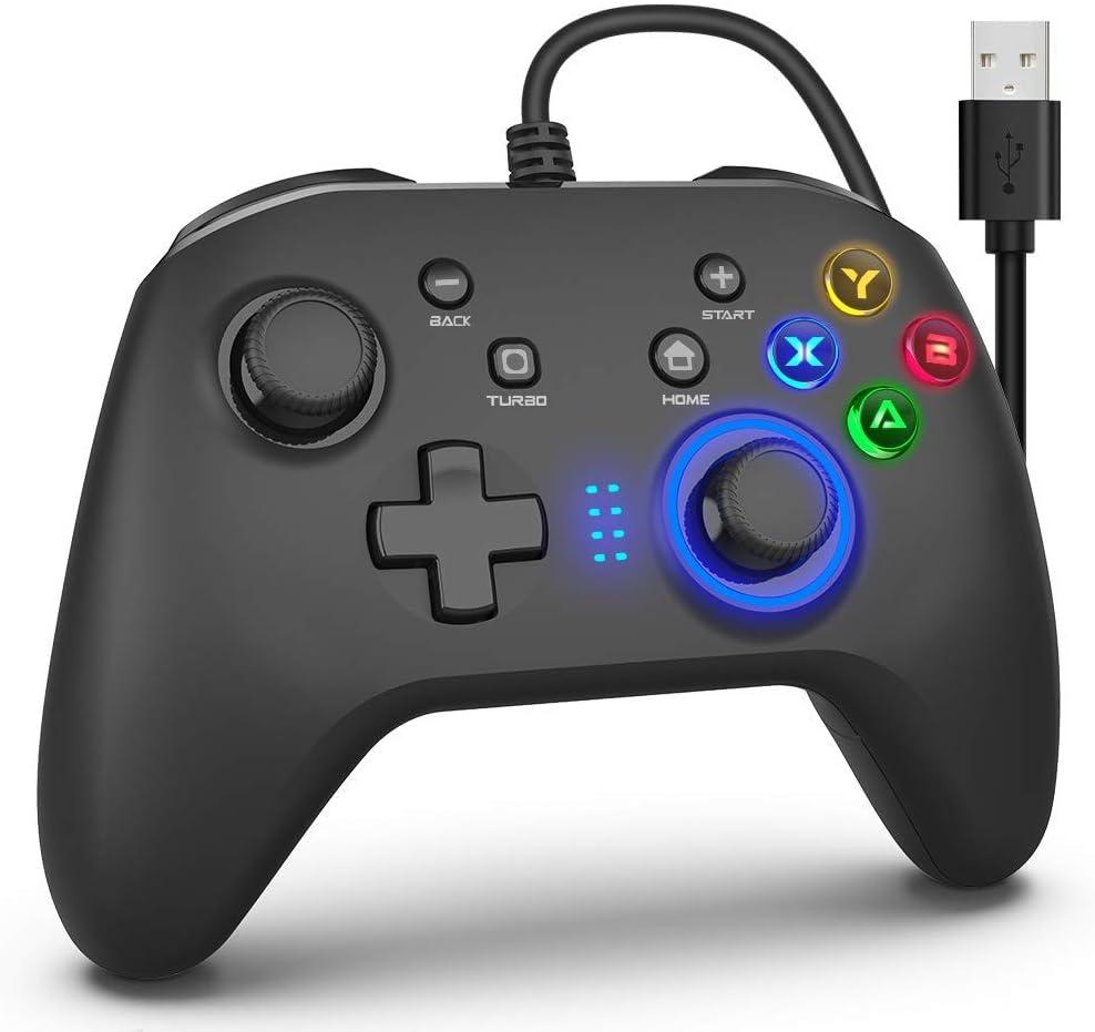 ゲームコントローラー PC 有線ゲームパッド 連射機能 モーター振動 LEDバックライト JD-SWITCH機能 スティック2つ