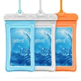 Floating Waterproof Phone Pouch, Cambond 3 Pack Waterproof Phone Case, Transparent PVC Water Proof Cell Phone Pouch Dry Bag with Lanyard for iPhone Xs Max XR X 8 7 6 Plus (Blue+White+Orange)
