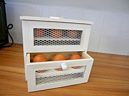 Homezone rustico Shabby Chic in legno a 2piani, rastrelliera porta uova, uova a forma di pino Farmhouse Kitchen Egg box basket. Autoportante o da parete Egg Storage box. Homezone®