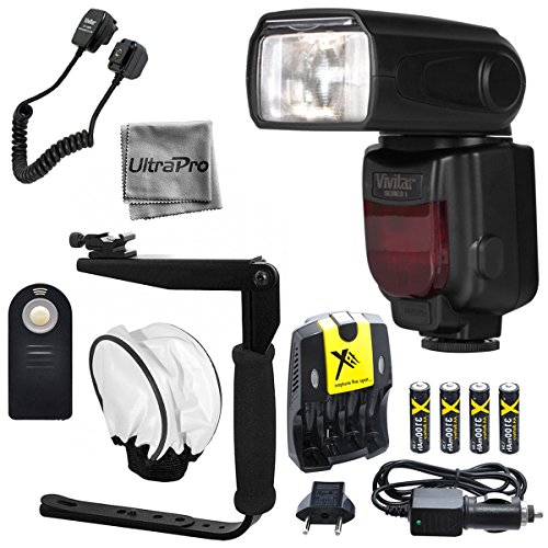 Vivitar DF-372 TTL Flash Bundle for Select Canon Digital SLR Cameras: Includes Flash, Bracket, Cord, Diffuser, Rechargeable Batteries and Charger, UltraPro Microfiber Cloth, Wireless Camera Remote by UltraPro