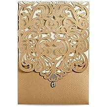 Doris Home Vertical Gold Classic Style Wedding Invitations with Rhinestone Cards Kit Custom,CW5010, 50pcs Pack (50)