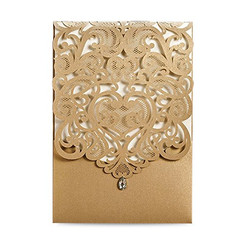 Doris Home Vertical Gold Classic Style Wedding Invitations with Rhinestone Cards Kit Custom,CW5010, 50pcs Pack (50)