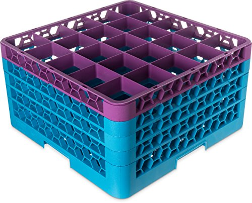 (Carlisle RG25-4C414 OptiClean 25 Compartment Glass Rack with 4 Extenders, 10.3
