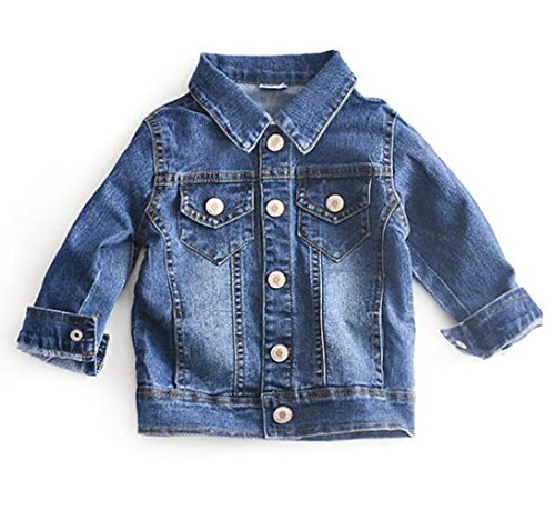 BANGELY Toddler Kids Washed Casual Button Down Denim Jacket Turn Down Collar Jeans Windproof Coats Size 1-2 Years/Tag90 (Blue) ()