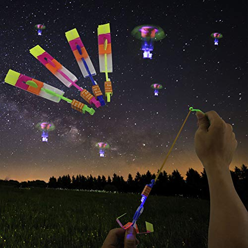 JAMSWALL Arrow Rocket Copters,Colorful Led Light Helicopter Flying Toy,Elastic Powered Sling Shot Helicopter Festival Party Amazing Gift for Kids and Adult 10 Pcs