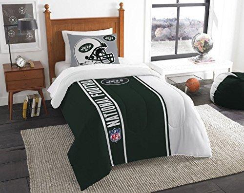 Good New York Jets Bedding Set Sham NFL 2 Piece Twin Size 1 Comforter 1 Sham