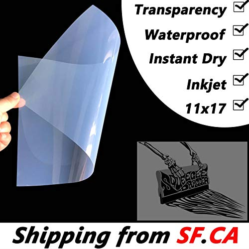 Waterproof Inkjet Instant-Dry Transparency Positive Film 5mil for Silk Screen Printing,It is Ideal for EPSON HP Canon Water-Based dye and Pigment Inkjet Printing Printers