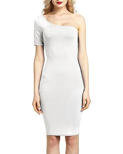 ZhuiKun Mujer Vintage Elegante Vestido De Fiesta Cortos Manga Vestidos Blanco S