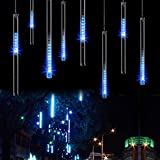 LED Meteor Shower Rain Lights - SurLight SURLML02 Falling Rain Drop Christmas Lights, Icicle Snow Fall Waterproof String Lights with 30CM 8 Tube 144 Leds for Holiday Xmas Tree New Year Halloween Wedding Party Decoration (Blue)