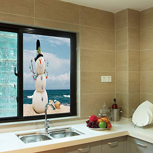 (YOLIYANA Frosted Window Film,Snowman,for Shop Restaurant Home,Winter Vacation Holiday Theme Snowman with Seashells Sitting,24''x36'')