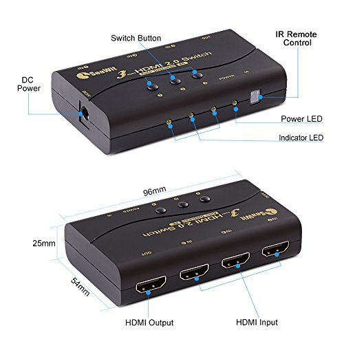 Sea Wit HDMI Switch-3 Port HDMI Switch with 3 HDMI Cables,Wireless IR Remote Control Supports 4K 1080P 3D,3 in 1 Out Switcher - Black by Sea Wit (Image #1)