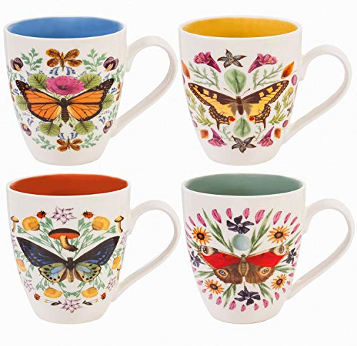 Butterfly Mandala 17 OZ Ceramic Cup O' Java Set of 4-4 x 5 x 6 Inches