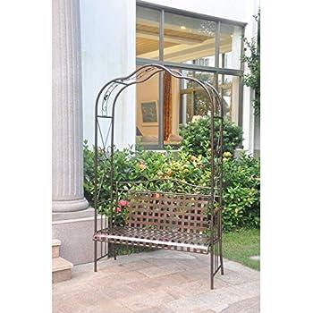 International Caravan 511197 OG 165267 O 852767 Iron Outdoor Arbor Bench,  Hammered Bronze