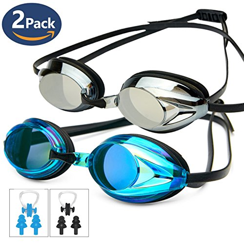 Swim Goggles Pack of 2,POKTOK Swimming Goggles No Leaking Anti Fog UV Protection Triathlon with Silicone Nose Clip Ear Plugs for Men Women Adult Youth Child - Triathlon Pack
