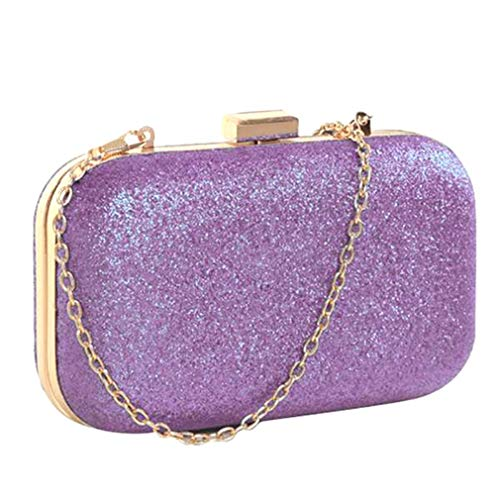 uekj Mini Small Chain Women Female Gold Silver Evening Clutch Bags Leather Handbags Wedding Purse Party Banquet Purple