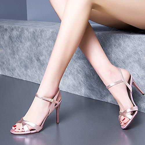 Talon Avec 20 Femmes Chaussures Fente UK5 Boucle Toe Rosée Sandales Fine SHOESHAOGE Haut À Femme EU38 CZTPxwq