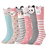 6 Pack Girls Socks, Flanhiri Knee High Stockings Cartoon Animal Warm Cotton Socks (6 Pairs)