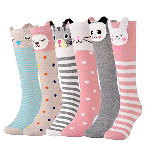 Skirts Boots Knee High (Flanhiri 6 Pack Girls Socks, Knee High Stockings Cartoon Animal Warm Cotton Socks (6 Pairs))