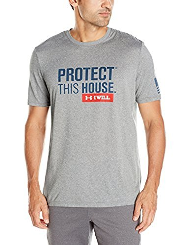 UA Men's Protect This House Tech T True Gray Heather/Blackout Navy MD & Visor