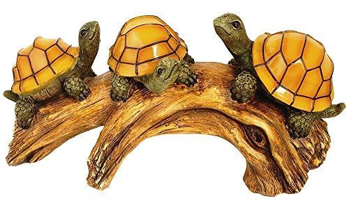 Mооnrаys Home Decor 91515 Solar-Powered Outdoor LED Light Garden Décor, Turtles on a Log