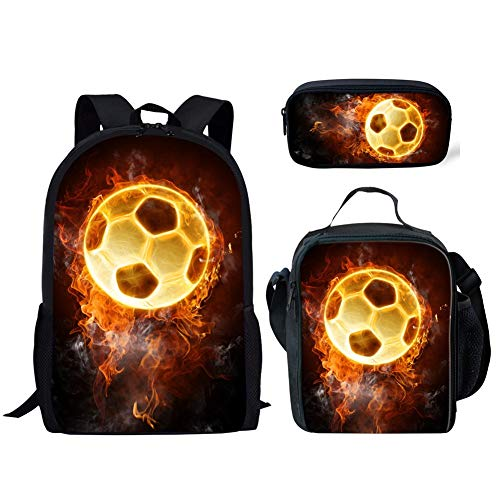 (ZOMOY Fire Football Print Black Backpack Teens Boys SSchool Book Bag with Kids Lunch Box Pencil Pouch 3 in)