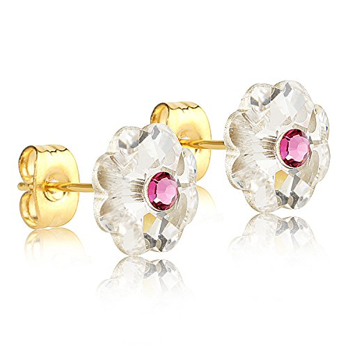 24k Gold Drop (24K Gold Coated Stud Earrings with 10mm Clear and Pink Swarovski Crystal Flowers)