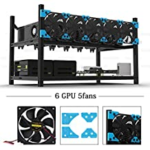 6 GPU Mining Rig With 5 Extreme Airflow Case Fan, Aluminum Stackable Miner Case Open Air Frame Unassembled Kit For ETH/ETC/ZCash Ethereum,Bitcoin,and Altcoins(Classic,Blue)