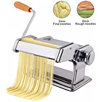 CBEX Stainless Steel Ordinary 2 Blades Pasta Making Machine Manual Noodle Maker Hand Operated Spaghetti Pasta Cutter Noodle Hanger
