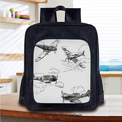 Elementary Baby Boys Girls Kindergarten Backpack World War Aircraft Army German Pilot Veteran Aggression Historic Vehicle Illustration Decorative Book Bag Satchel,]()