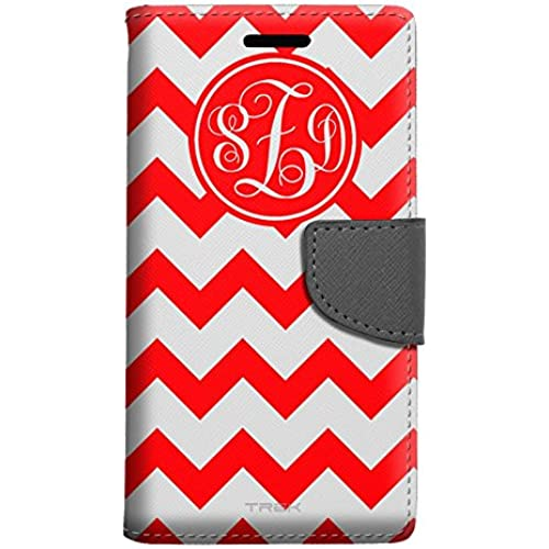 Monogram Samsung Galaxy S7 Edge Wallet Case - Chevron Red and White Sales