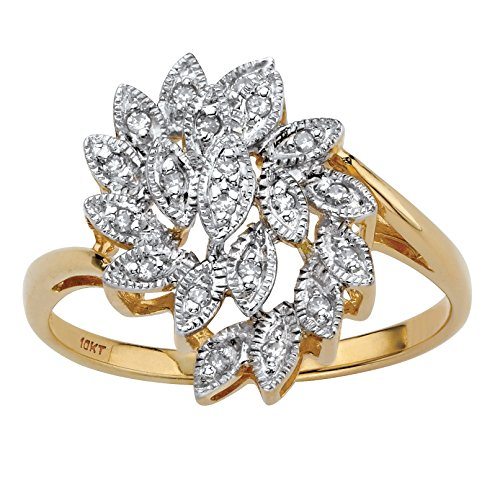 10K Yellow Gold Round Diamond Leaf Cluster Ring (.10 cttw, HI Color, I3 Clarity) Size - Ring Cluster 10k Diamond