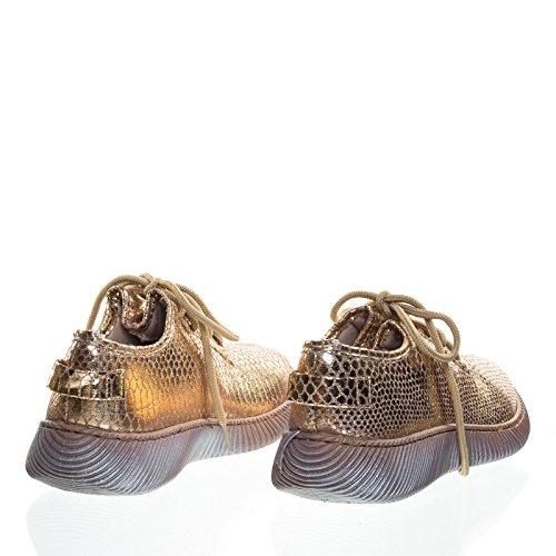Ormskinn Präglade Utskrifter, Snörning Sneaker W Ribbyttersula Ökade Guld