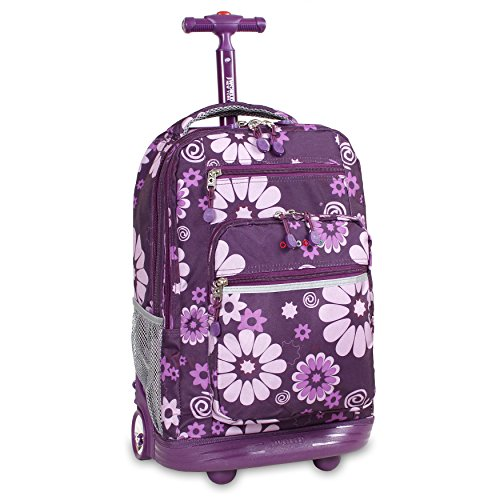 J World New York Sundance Rolling Backpack, Purple Flower, One Size by J World New York