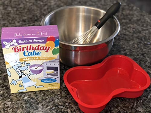 Dog Birthday Cake Mix And Reusable Silicone Bone Shaped Pan