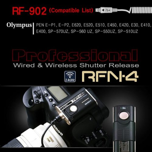 (RFN-4 (RF-902) Wireless & Cable Shutter Release for Olympus DSLR Cameras RM-UC1 USB (Olympus PEN-F, PEN E-PL8, OM-D E-M1, E-M5, E-30, E-620, E-520, E-510, E-420, E-410, PEN E-P5, E-PL5, E-PL3, E-PL2, PEN E-P3, E-PM1, EP-2, EP-1, SP-570UZ, SP-560UZ, SP-550UZ, SP-510UZ, SZ-30MR, Stylus 1))