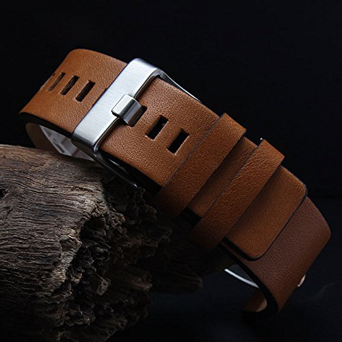 MSTRE NP67 24mm/26mm Calfskin Leather Watch Band Suitable for Men's Diesel Watches (24mm, Brown) by MSTRE (Image #3)