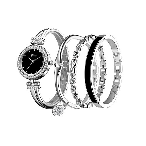 Elegance Stainless Steel Analog - Foncircle Women's Bangle Watch Bracelet Design Quartz Watch with Rhinestone Stainless Steel Band Wrist Watches
